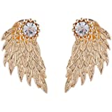 Gothic Women Punk Jewelry Angel Wings Rhinestone Alloy Drop Stud Earrings#by pimchanok shop (Gold)