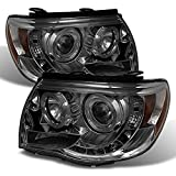 Toyota Tacoma Pickup Smoked Smoke Dual Halo Ring Design Projector LED Replacement Headlights Lamps