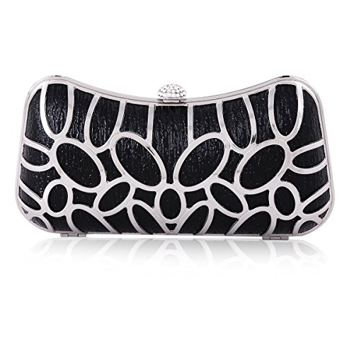 Damara Clutch Snap Cutout Womens Black Evening Bag Metal Rhinestone 6a6rFqS
