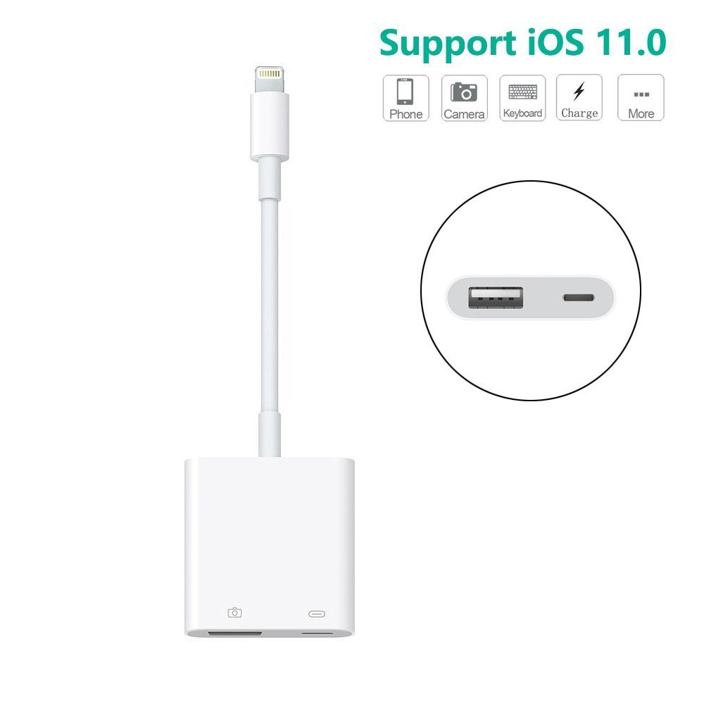 LECMARK Lightning to USB Camera Adapter, Lightning to USB Female Adapter Cable With USB Power Interface Data Sync Charge Cable For iPhone iPad