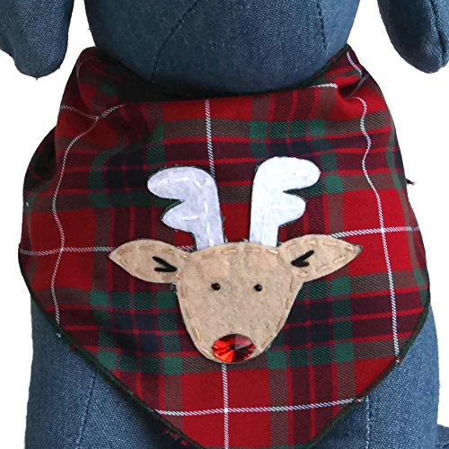 Tail Trends Christmas Dog Bandanas Rudolph Designer Appliques 100% Cotton - Dog Bandana Christmas