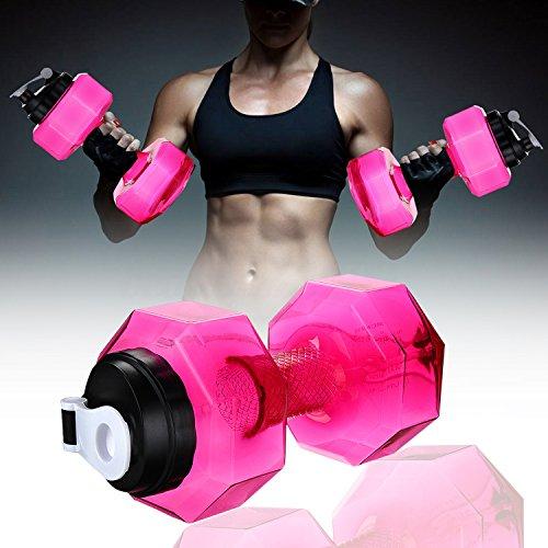 Hi-crazystore Portable Dumbbell Shape Bottle Drinking Water Bottles Water Kettle personalized bottle 2.2L (BPA Free) (Pink)