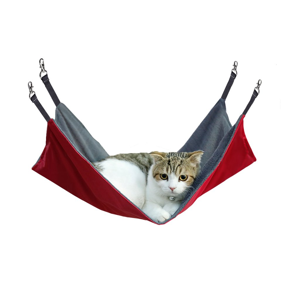 Petneces Cat Hanging Hammock, Waterproof Oxford Fabric Small Animal Bed for Cage under the Chair for Rabbit/Rat/Ferret- 2 in 1 Summer&Winter - Easy to Attach to a Cage (Red)