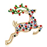 Finance Plan The Latest Christmas Cute Reindeer Style Colorful Rhinestone Brooch Pin Women Xmas Jewelry Multicolor