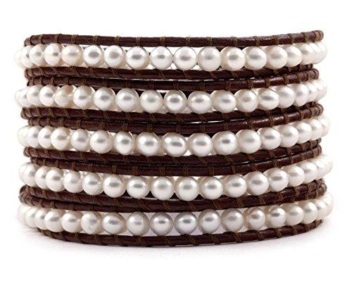 Chan Luu White Pearl Wrap Bracelet on Brown Leather by Chan Luu