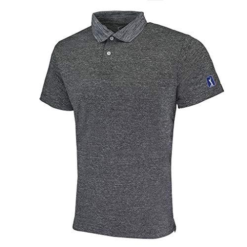 (PGA TOUR Men's Heathered Tech Polo Black S)