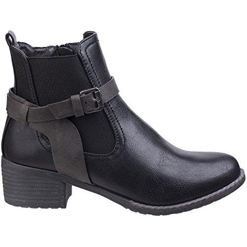 Navy Suede Zip Chelsea Boots Black IVANA Divaz Ladies Faux wq1tFT