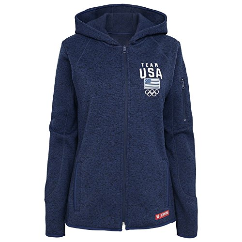 "Olympics Team Usa Adult Women ""Accolade"" Sweater Fleece Jacket, Large, Navy"
