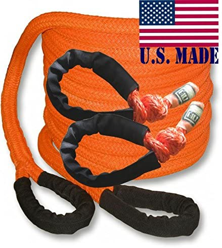 /& Heavy-Duty Carry Bag 4X4 Vehicle Recovery Pair BILLET4X4 U.S Made 1 inch X 30 ft Safety Orange Safe-T-Line Kinetic Snatch Rope with Soft Shackles