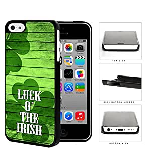 Luck of The Irish Quote Green Wood Pattern Shamrocks iPhone 5c Hard Snap on Plastic Cell Phone Case Cover
