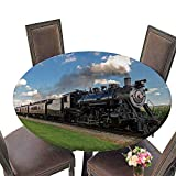 PINAFORE Chateau Easy-Care Cloth Tablecloth Historic Steam Train Passes Through The Fields for Home, Party, Wedding 43.5''-47.5'' Round (Elastic Edge)