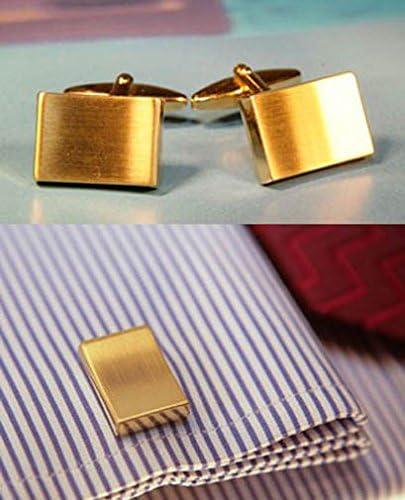 Unbekannt vergoldete Manschettenkn/öpfe matt geb/ürstet rechteckig konkav Geschenkbox