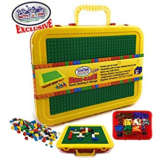 "Matty's Toy Stop Brik-Kase 2-GO 13"" Travel, Building, Storage & Organizer Container Case with Building Plate Lid (Holds Approx 1,500pcs) - Compatible with All Major Brands (Red, Green & Yellow)"