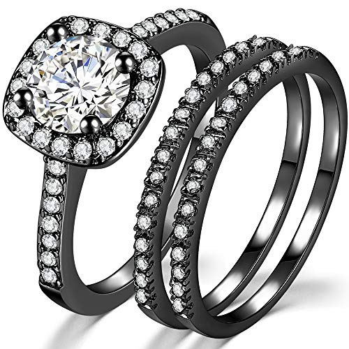 Jude Jewelers Silver Rose Gold Three-in-One Wedding Engagement Bridal Halo Ring Set (Black, 8.5)