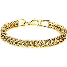 Mens Stainless Steel Franco Chain Heavy Metal Link Wrist Bracelet 9.4 Inch