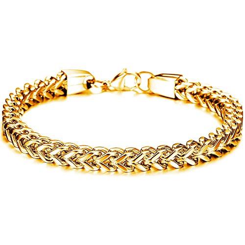 Stainless Steel Curb Chain Bracelet for Men Punk Biker Link Wrist 6MM Wide For Men Women Golden By Herinos
