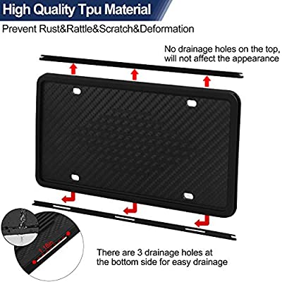 COMPONALL License Plate Frames, 2PCS Silicone License Plate Holder with 3 Drainage Holes and Screws, Rust-Proof, Rattle-Proof and Weather-Proof License Plate Holder - Black: Automotive