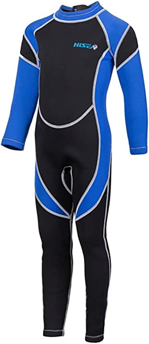 SailBee 2MM Neoprene One Piece Full Wetsuits for Kids Boys Girls Back Zipper Swimsuit UV Protection