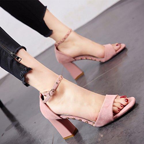 con c square caviglia alti Onorevoli tacchi rivetti tacco alla estate e sandali talloni dita suede YMFIE qXSBww