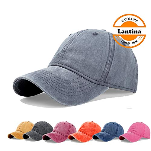 Lantina Unisex Men Women Adjustable Baseball Cap Pigment Dyed Curved Brim Distressed Hat with Ponytail Hole Hip Hop Style Flexfit Summer UV Sun Protection UPF30+ - One Size Fits All Gray
