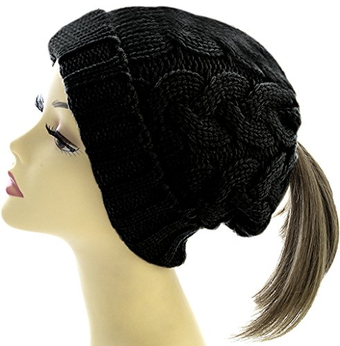 Hats Gear Apparel - Warm Cable Knit Ponytail Messy Bun Beanie Hat with Hole for Bun - Great Earmuff and Headband Alternative - Slouchy Beanie Winter Hat for Women and Girls (Black-Cuffed)