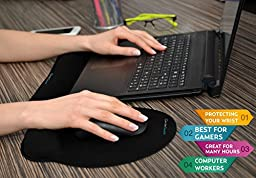 Keyboard Wrist Rest Pad - Mouse Pad With Wrist Support - NEW - Ergonomic and Comfortable Memory Foam Wrists Support for: Computer Typing - Gaming - Targets: Carpal Tunnel - Computer Workers - Gamers