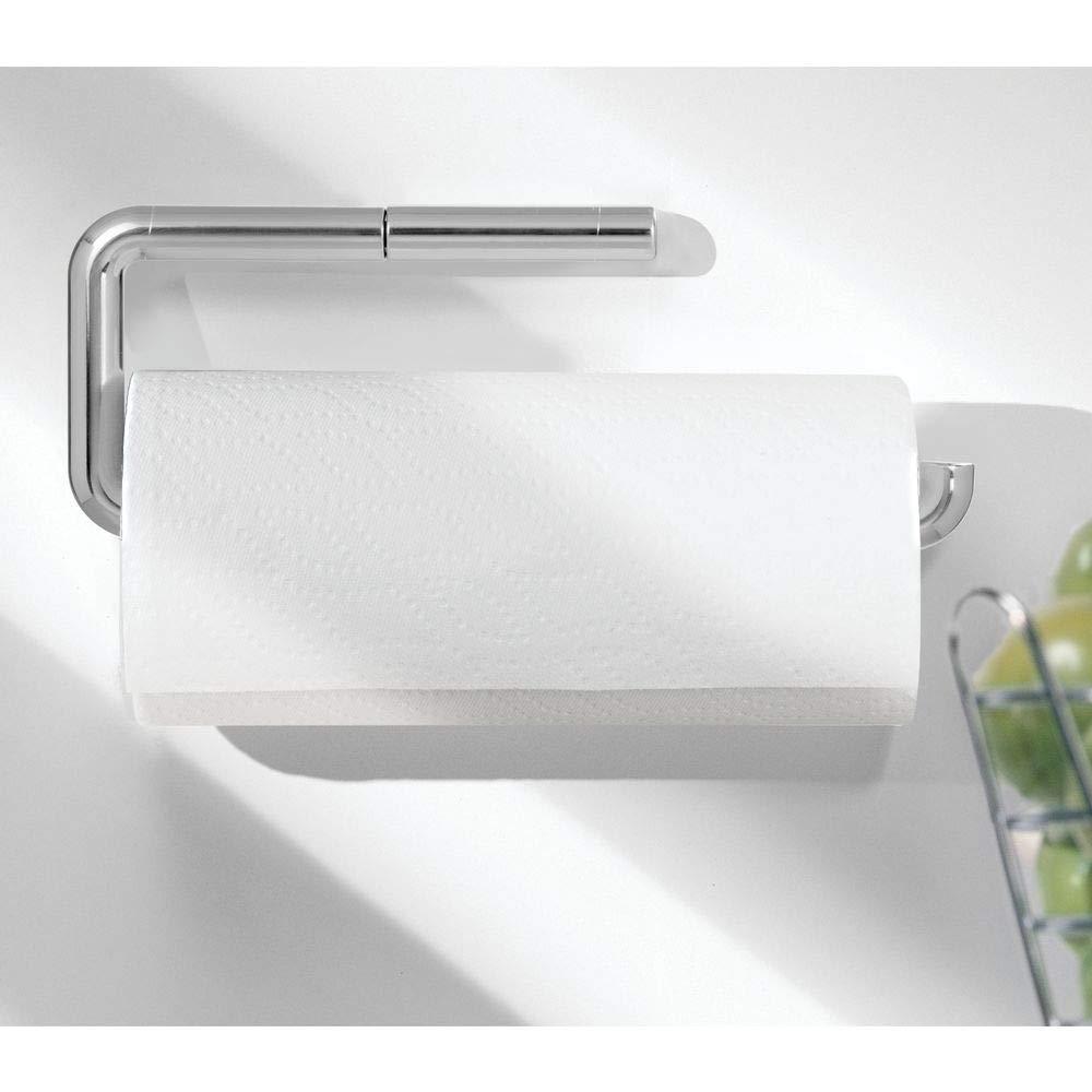 mDesign Portarrollos de papel de cocina fabricado en plástico resistente – Dispensador de papel de cocina para fijar a la pared – Soporte para rollo ...