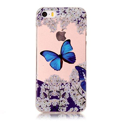 iPhone 5 5S / SE Coque,Joli papillon Premium Gel TPU Souple Silicone Transparent Clair Bumper Protection Housse Arrière Étui Pour Apple iPhone 5 5S / SE + Deux cadeau