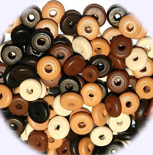New Brown Earthtone Assortment 11mm Rondelle Wood Jewelry-Making Beads 90gm DIY Craft Supplies for Handmade Bracelet - Gems Earthtone