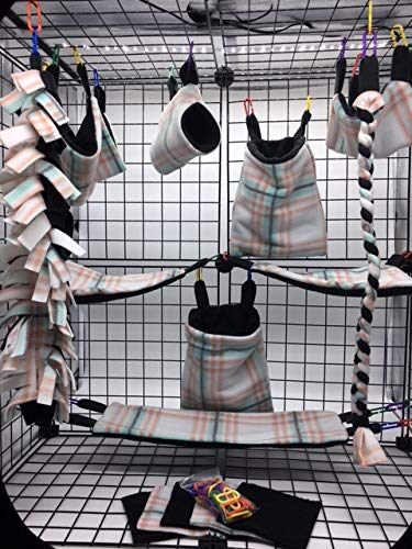 The Kozy Kritter 15 Piece Mint and Coral Plaid Sugar Glider Cage Set by The Kozy Kritter