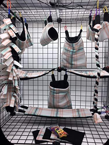The Kozy Kritter 15 Piece Mint and Coral Plaid Sugar Glider Cage - Fleece Glider Sugar Blanket