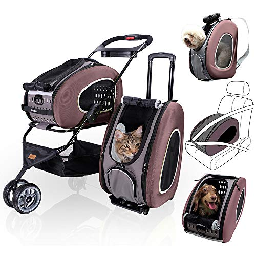 ibiyaya 5 in 1 Pet Carrier + Backpack + CarSeat + Pet Carrier Stroller + Carriers with Wheels for Dogs and Cats All in ONE (Brown)