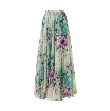0ade377cfca16 Women's Ladies Chiffon Boho Sexy Floral Lace Print Maxi Long Skirt ...