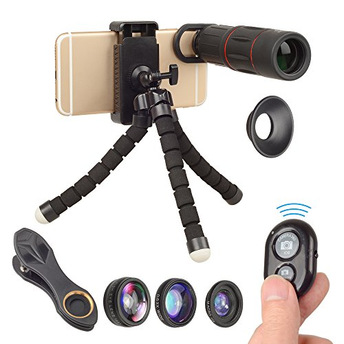 Monocular Telescope for Smartphone 6 in 1 Kit- Spyglass 18 x 25 Zoom, Tripod, 4 Camera Lens Attachments, Remote Shutter, Spotting Scope for Travel, Hunting, Shooting, Bird Watching (Best Lens For Bird Photography)