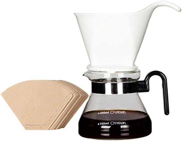 Cafetera lavada a mano con filtro de cerámica, cafetera de vidrio resistente al calor y 100 papel de filtro de café 2-4 tazas: Amazon.es: Hogar
