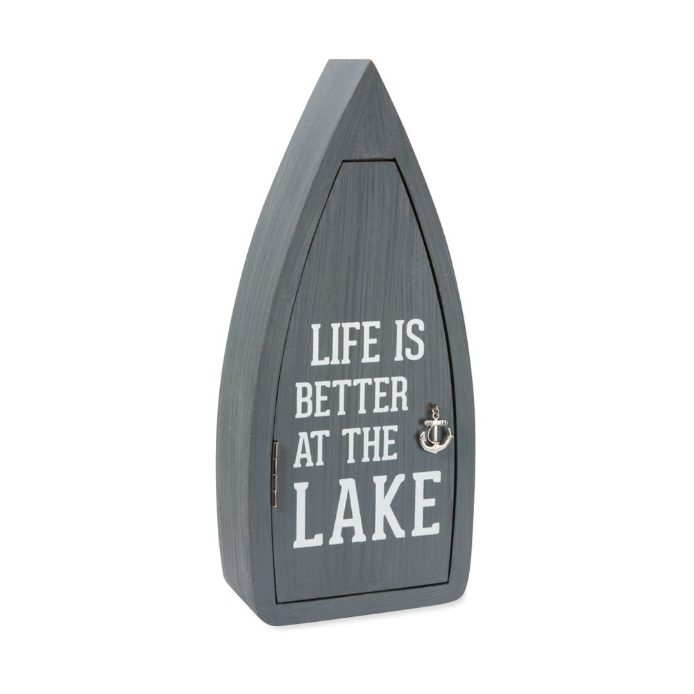 Life is Better at The Lake 11.75 Inch Hanging Key Box Pavilion Gift Company 67364 Pavilion