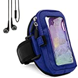 Zippered Sweatproof Blue Workout Armband with In-Ear Stereo Earphones Suitable for Asus Smartphones 5'' to 6inch