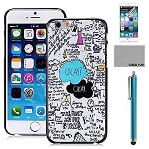 HaleyL-Sky Doodle Pattern PC Hard Back Case Cover with Screen Protecter, Stand and Stylus for iPhone 6 6G 5.5