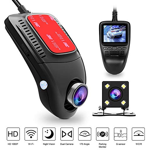 - HUAWO 1080P FHD Dual in Car Dash Cam Camera DVR Digital Driving Video Recorder Front Cam and IP67 Water Resistance Rear View 170°Wide Angle, Loop Recording, G-Sensor,Motion Detection