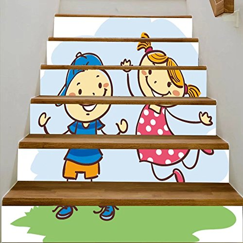 vanfan 3D Creative vector illustration of kids playing stick figures DIY Refurbished Stairs Stickers Removable Waterproof Stairs Mural(39.3