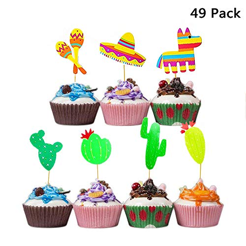 Finduat 49 Pack Mexican Fiesta Cupcake Toppers for Mexican Themed Cactus Donkey Taco Pepper Sombrero Mustache Cupcake Toppers Kids Birthday Party Supplies Decorations