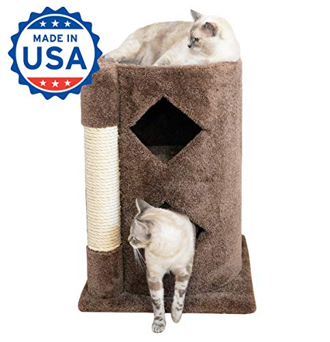 Wood Cat Furniture Sisal Rope 28 inch Two Story Cat Condo with Scratching Post, Brown Carpet (Two Cat Condo Story)