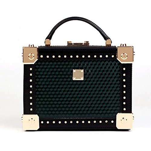 Vintage Women Green Actlure Purse Genuine Box Handmade Cow Clutch Leather Handbag Shoulder Crossbody gT6q1w