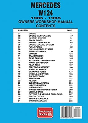 Mercedes W124 Owners Workshop Manual 1985 1995 200 200e E200 E220 220e 230e 260e E280 280e E300 300e 300e 24 E320 320e By Brooklands Books Amazon Ae