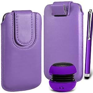 N4U Online Premium PU tirón del cuero del tirón Tab bolsa de la cubierta del caso con el magnética Cierre de correa, Stylus Pen & Mini altavoz portable para Blackberry Z10 - Púrpura