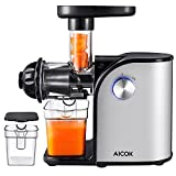 Aicok Slow Masticating juicer, Cold Press Juice Extractor, Stainless Steel, Quiet Motor, High Nutrient Fruit and Vegetable Juice, Black