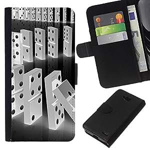 All Phone Most Case / Oferta Especial Cáscara Funda de cuero Monedero Cubierta de proteccion Caso / Wallet Case for LG OPTIMUS L90 // Domino Black White Line Falling Numbers