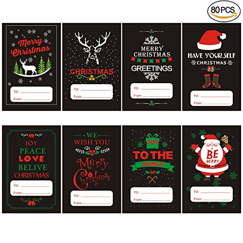 Jumbo Christmas Self Adhesive Christmas Gift Wrap Tags Stickers,With Black Series Designs Xmas Gift Labels,80 pcs. (Parties Names For Christmas Themed)