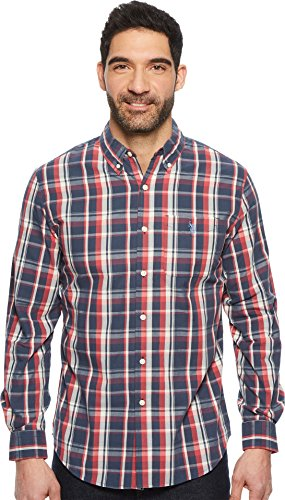 U.S. Polo Assn. Men's Long Sleeve Plaid Sport Shirt Mood Indigo - Tartan Polo