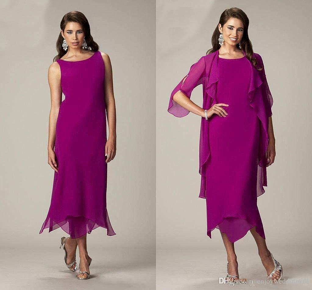 HYC Robe en mousseline de soie pour mère de la mariée avec veste, manches longues, robe de soirée formelle grande taille Fuchsia